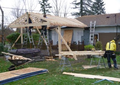 Framed Porch Roof In Progress